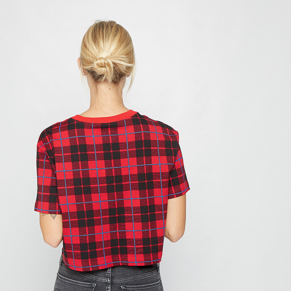 NIKE W NSW TEE FUTURA PLAID CROP university red