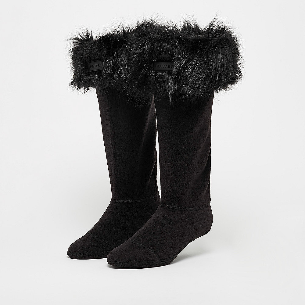 Hunter Faux Fur Cuff Boot Sock black