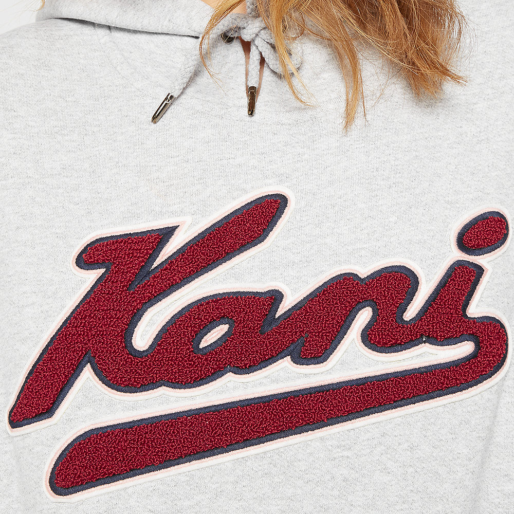 Karl Kani College Hoodie h.grey/beet red