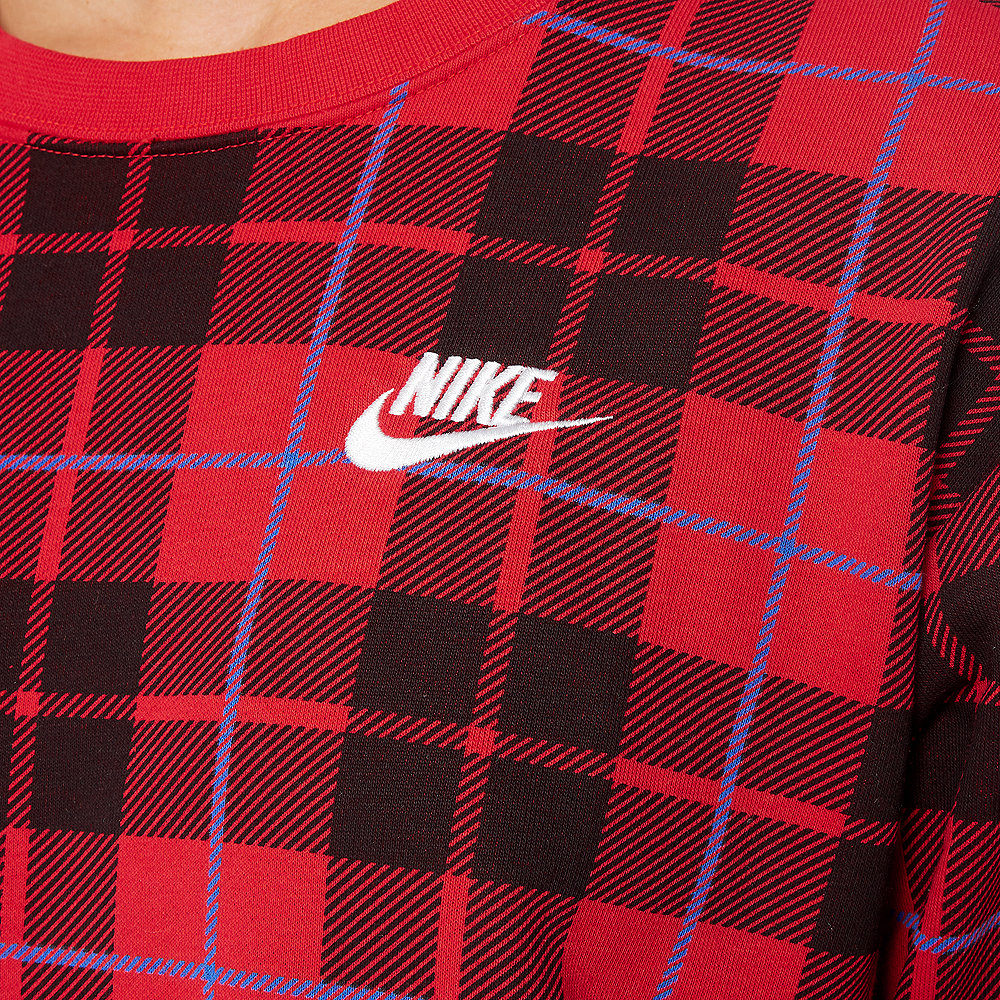 NIKE W NSW CREW FLC AOP PLAID university red/university red/white