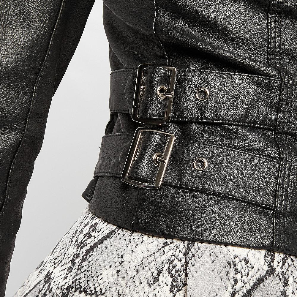 moderate Kosten einzigartiges Design angemessener Preis Bikerjacke Leder-Look schwarz