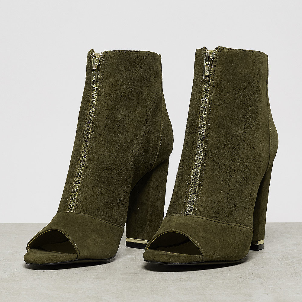 Buffalo Ankle Boot Open Toe Front Zip olive