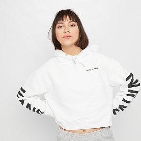 Calvin Klein Cropped Institutional Hoodie bright white/CK black