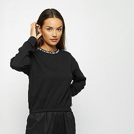 Calvin Klein Logo Tape Cropped Crew Neck black