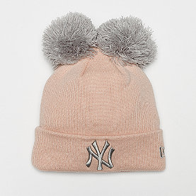New Era New York Yankees double pom cuff knit  blush sky/gray