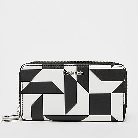Calvin Klein Must LRG Double Zip Purse quilt print bw