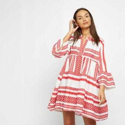 Effeny Boho Sommerkleid rot/weiß